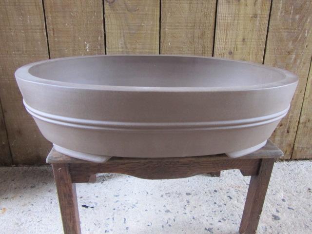 Chinese Stoneware Handmade Large Oval