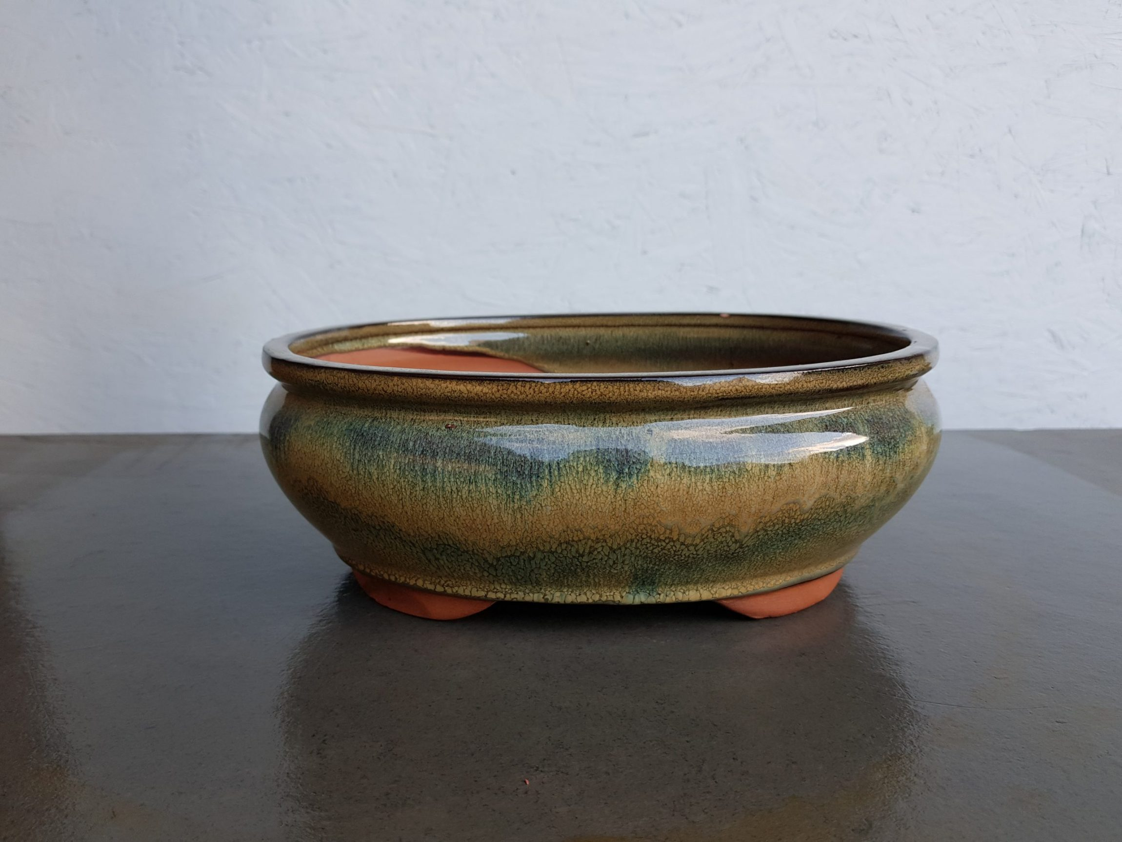 Green Curved Glazed Oval