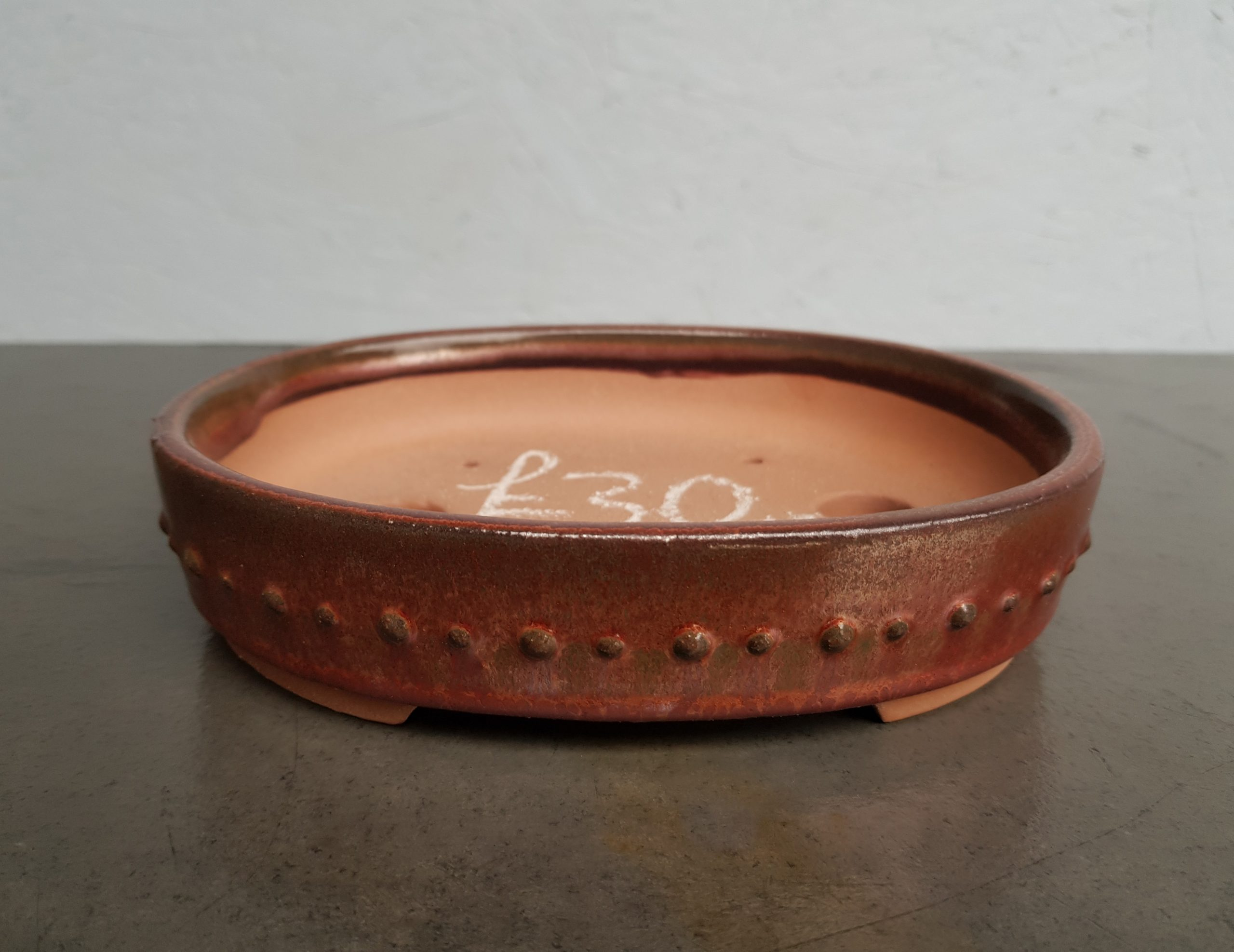 Chinese Red/Brown Glazed Oval